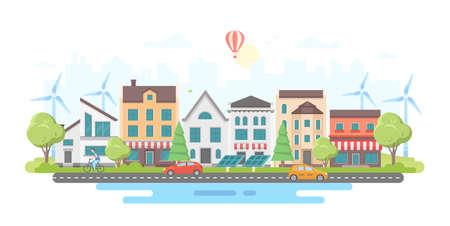 Eco-vriendelijke stadsdistrict - moderne platte ontwerp stijl vectorillustratie