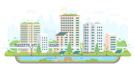 Cityscape with solar panels modern flat design style vector illustration