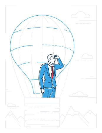 Businessman in a balloon line design style illustration Ilustração