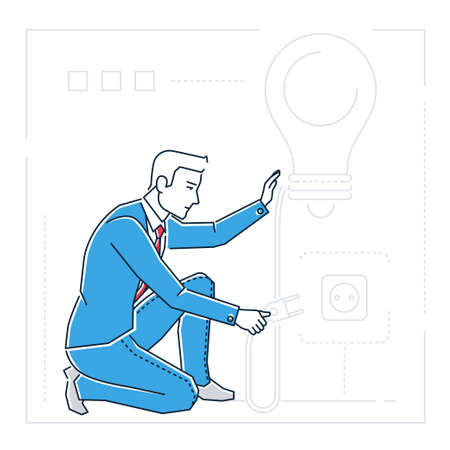Businessman searching for ideas line design style isolated illustration
