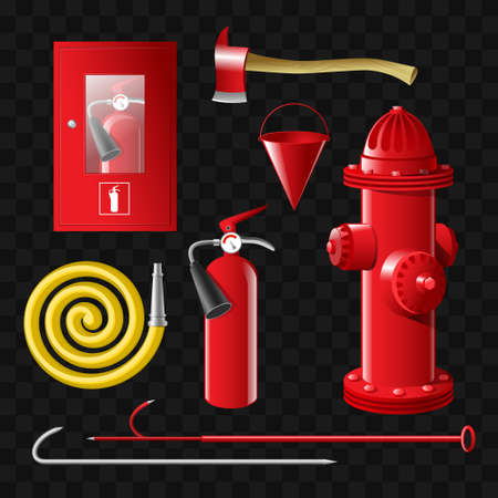 Firefighting equipment set of realistic vector isolated objects