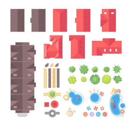 éléments de paysage - ensemble d & # 39 ; objets vectoriels modernes