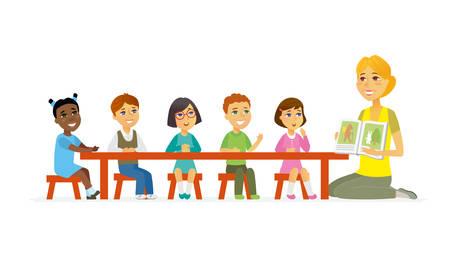 International kindergarten - cartoon people characters isolated illustration Vettoriali