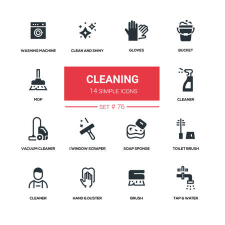 Cleaning line design silhouette icons set 向量圖像
