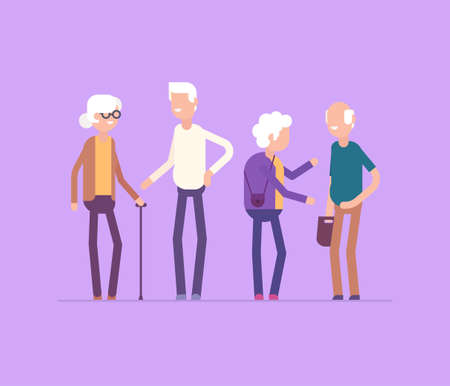 Retired people meeting - modern flat design style isolated illustration
