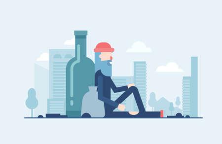 Dakloze man in moderne platte ontwerp stijl illustratie geïsoleerd op blauwe stedelijke achtergrond met wolkenkrabbers silhouetten. Metaforisch beeld van een persoon die alleen zit met een zak en een grote fles erachter.