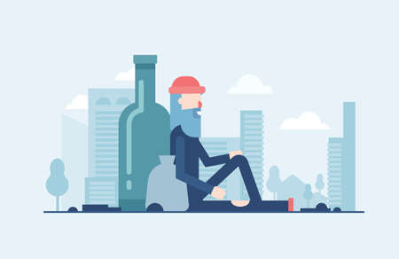Homeless man in modern flat design style illustration isolated on blue urban background with skyscrapers silhouettes. Metaphorical image of a person sitting alone with a sack and a big bottle behind. Illustration