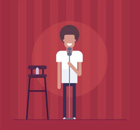 Homem que executa na ilustração isolada do estilo moderno do projeto liso no fundo vermelho da cortina. Comediante de pé de sorriso que actua antes da audiência. Uma imagem de uma cadeira alta, garrafa, microfone.