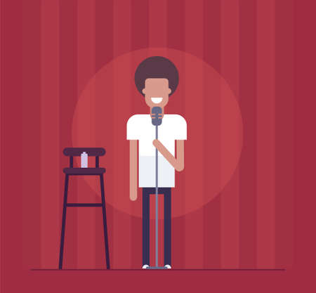 Man performing in modern flat design style isolated illustration on red curtain background. Smiling stand-up comedian acting before the audience. An image of a high chair, bottle, microphone.