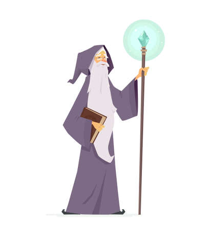 漫画の人々のキャラクターイラストの魔法の本と杖を持つウィザードは、白い背景に隔離されています。クリスタルで棒を持つマントルに長い白い