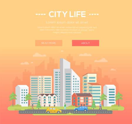 Vita di città - illustrazione moderna di vettore con il posto per testo su fondo arancione-chiaro. Bel paesaggio urbano con grattacieli e piccoli edifici bassi, alberi, gente che cammina, macchine sulla strada Archivio Fotografico - 93954124