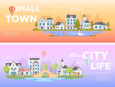 Lovely city - set of modern flat vector illustrations