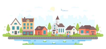 Calm city life - modern flat design style vector illustration