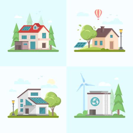 環境に優しい複合体 - 青い背景に近代的なフラットデザインスタイルのベクトルイラストのセット。異なる家、木、納屋、ソーラーパネル、風車、