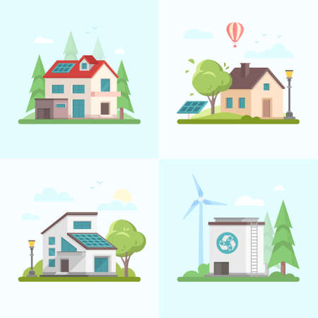 Eco-friendly complex - set of modern flat design style vector illustrations on blue background. A collection of four images of different houses, trees, barn, solar panel, windmill, recycling outlet. Çizim
