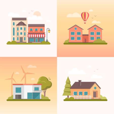 Nice buildings - set of modern flat design style vector illustrations Ilustrace