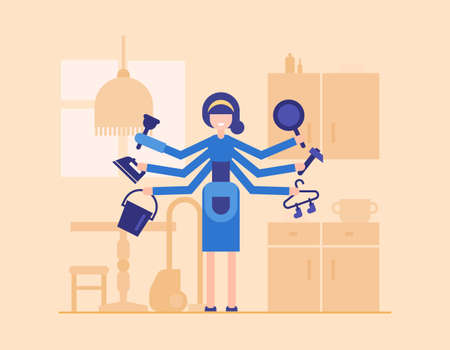 Housewife in the kitchen - modern flat design style illustration isolated on orange background with furniture silhouettes. Smiling cartoon character, woman holding iron, bucket, pan, hammer, hanger