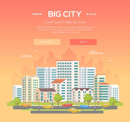 Big city - modern colorful vector illustration