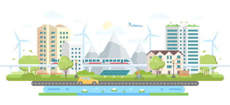 Eco-friendly city district - modern flat design style vector illustration