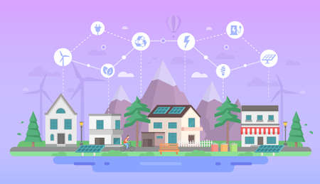 Eco-friendly city district - modern flat design style vector illustration on purple background with a set of icons. A landscape with buildings, solar panel, cafe, pond. Recycling, saving energy concept