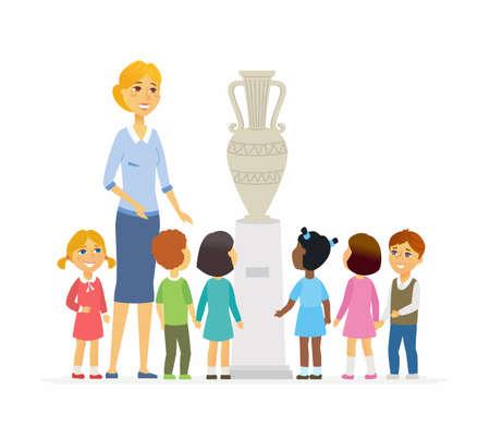 Enfants avec un enseignant dans le musée - personnages de dessin animé des personnages isolé illustration Banque d'images - 94028286