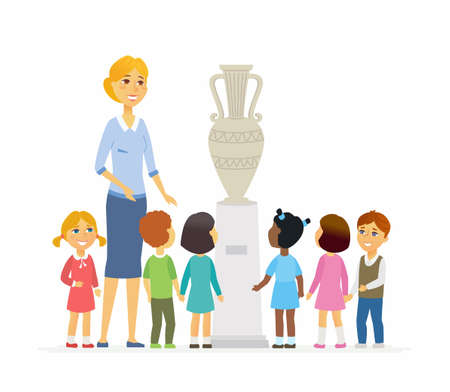 Children with teacher in museum - cartoon people characters isolated illustration