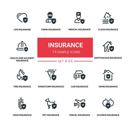 Insurance concept - line design silhouette icons set