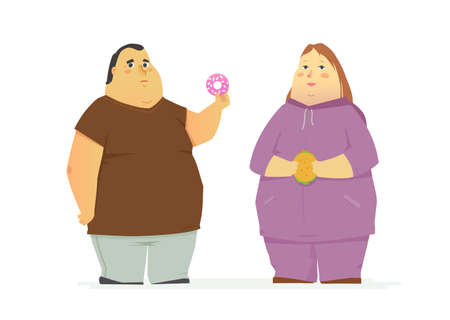 Plump couple eating unhealthy food - cartoon people characters isolated illustration