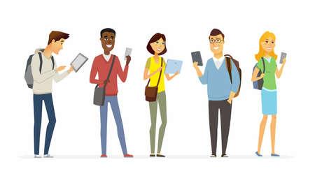 自分の携帯電話をチェックする幸せな学生 - 漫画の人々の文字孤立したイラスト