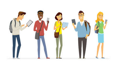 Happy students checking their phones - cartoon people characters isolated illustration Illustration