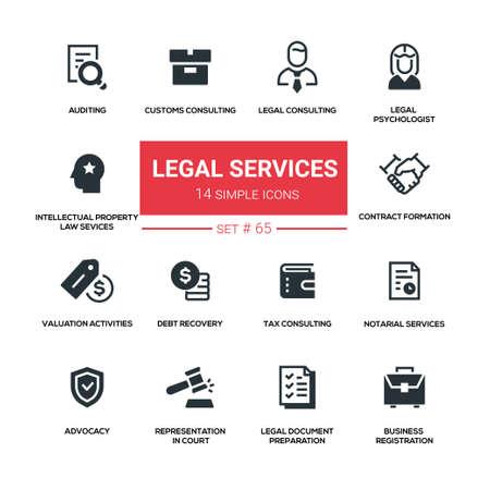 Legal services - line design silhouette icons set