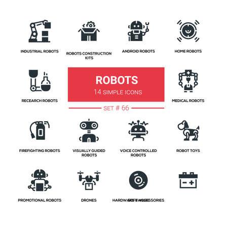 Robots - lijn silhouet pictogrammen ontwerpset