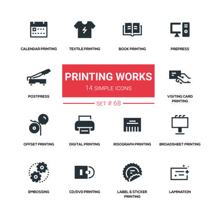 Printing works - line design silhouette icons set