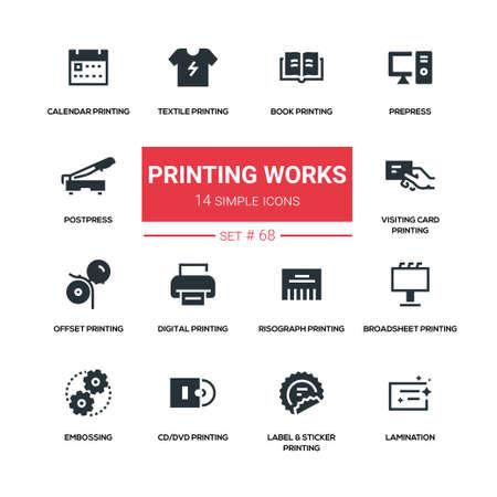 인쇄 작업 - 라인 디자인 실루엣 아이콘을 설정합니다. 일러스트