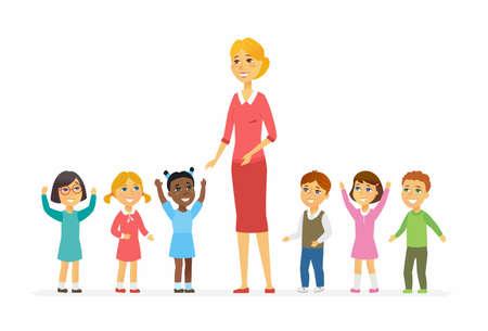Professeur de maternelle avec des enfants - personnages de dessin animé de caractères isolé illustration Banque d'images - 94176425