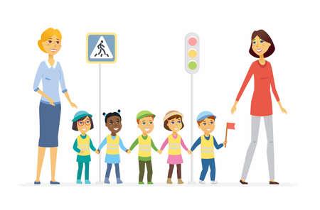 Professeur de la maternelle montre règles de route - personnages de dessin animé de caractères isolé illustration Banque d'images - 94176426