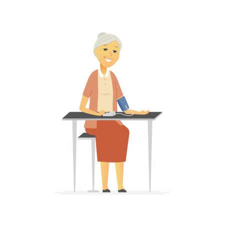 Senior woman measures blood pressure - cartoon people characters isolated illustration