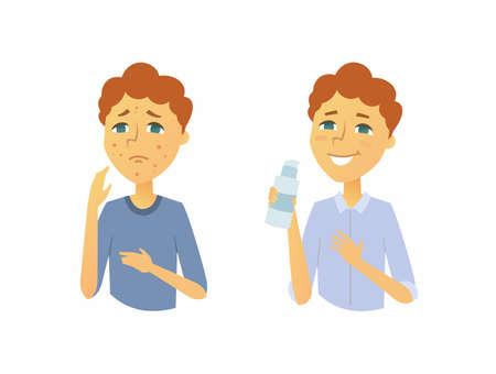 피부 치료 전후의 십대 - 만화 인물 일러스트레이션