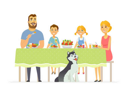 Happy family having dinner together - modern cartoon people characters illustration
