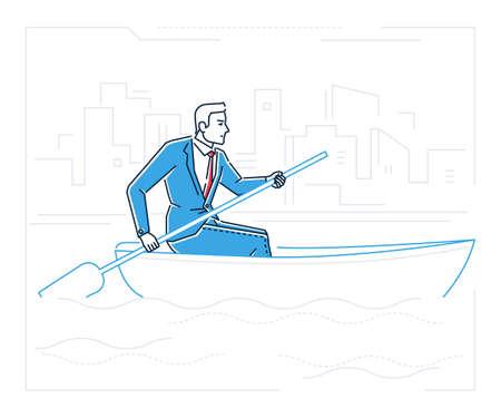 Businessman rowing a boat - line design style illustration