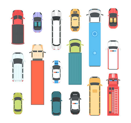 Vehicles - set of modern vector city elements Çizim