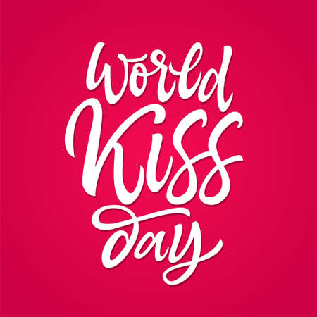 World Kiss day - vector hand drawn brush pen lettering. White text on bright pink background. High quality calligraphy for card, print, poster. Congratulated your be Illusztráció
