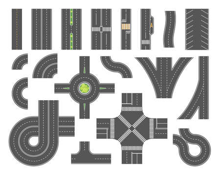 Road map toolkit - set of modern vector city elements