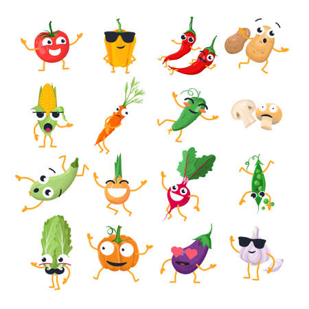 Funny vegetables vector isolated cartoon emoticons.