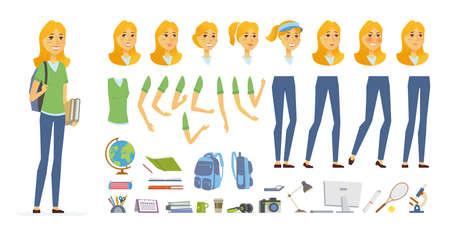 학생 - 벡터 만화 사람들이 문자 생성자 흰색 배경에 고립. 젊은 예쁜 여자, 테니스 선수. 다른 얼굴 표현, 포즈, 애니메이션, 개체 제스처 집합