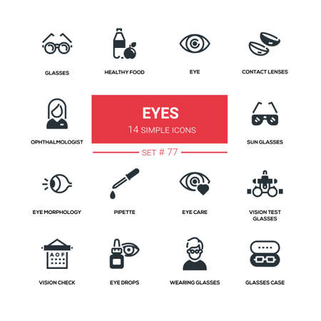 Eyes - line design silhouette icons set. High quality black pictogram.