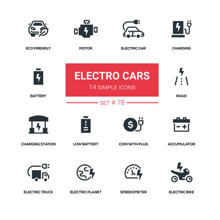 Electro cars - line design silhouette icons set. High quality black pictograms.