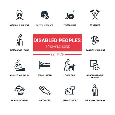 Disabled people - line design silhouette icons set