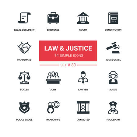 Law and justice - line design silhouette icons set Ilustrace