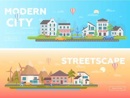 Streetscape - set of modern flat vector illustrations with place for text on orange and blue background.
